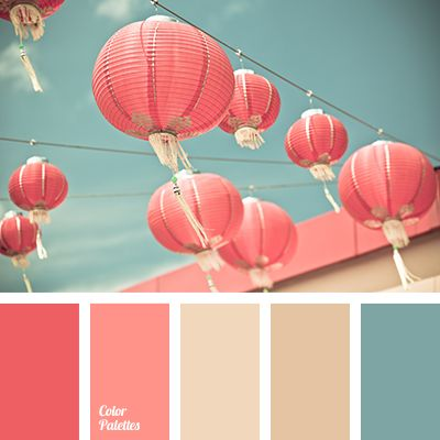 A palette consisting of rather calm tones. Pink and coral match the turquoise splendidly, without creating a significant contrast, while beige and pale bro.