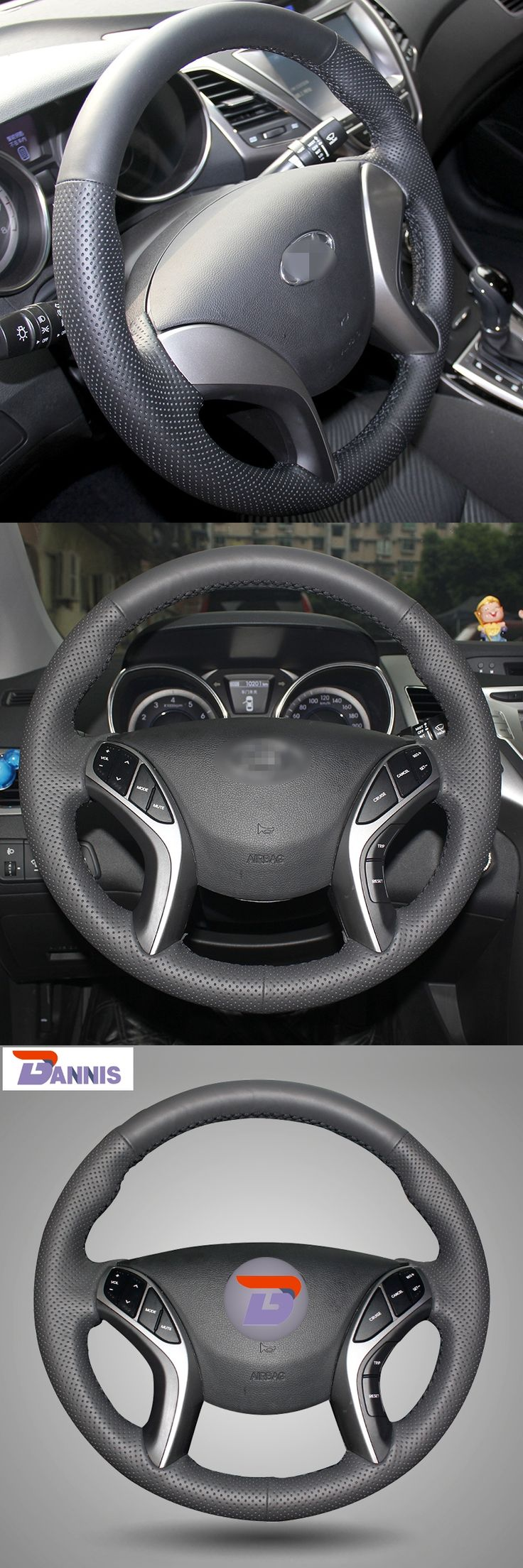BANNIS Black Artificial Leather DIY Hand-stitched Steering Wheel Cover for Hyundai Elantra 2011-2014 Avante I30