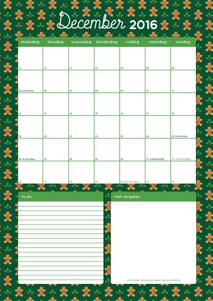 Free Printable Maandplanner December!