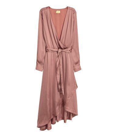 Vestido cruzado de satén | Rosa | Mujer | H&M MX
