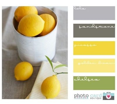 Yellow Green Grey Color Scheme Home Decor