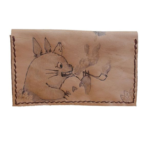 Handmade leather tobacco pouch smoking totoro      #chibipyro #artisan #craft #shop #leather #wood #woodburning #fire #fan #art #artisan #craft #handmade #etsy #shop #pyro #pyrography #burn #burning #fire #drawing #woodburner #cork #recycled #purse #comb #hairbrush #note #book #sketch #tobacco #pouch #bookmark