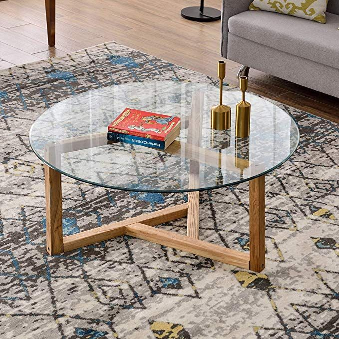 Amazon Com P Purlove Round Glass Coffee Table 35 Modern