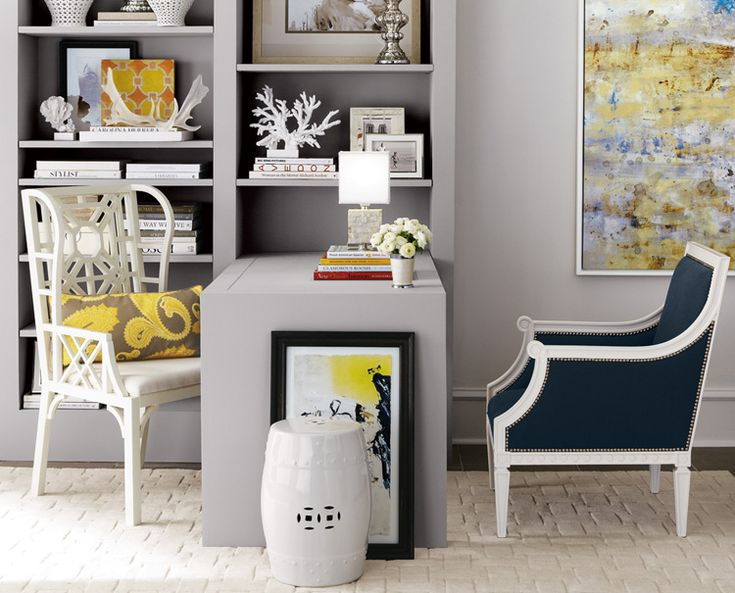 lily pulitzer chair and jonathan adler french chair shelving stylingDecor, Chairs, Offices Spaces, Traditional Home, Desks, Colors Schemes, Offices Ideas, Grey, Home Offices