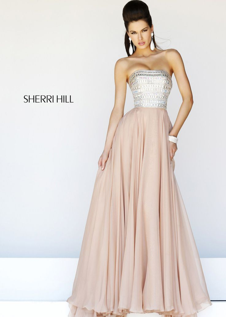 Sherri hill 1539 nude strapless long prom dresses onlinelong dresses