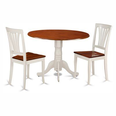 East West Furniture Dublin 3 Piece Round Dining Table Set with Avon Wooden Seat Chairs - DLAV3-BMK-W