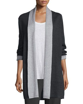 Long+Double-Knit+Merino+Cardigan++by+Eileen+Fisher+at+Neiman+Marcus.
