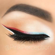 4th of July inspired patriotic eye makeup look #holiday #makeup Red, White and Blue