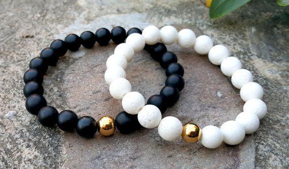 Couples Gemstone Black & White Bracelet, Yellow Gold Ball Bracelet, Mens, Womens, His Hers, Couples, Yinyang Bracelet, Protective, Strength by Braceletshomme