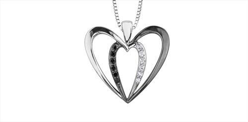 Silver and Diamond Enhanced Black Diamond Heart Pendant