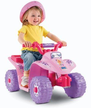 Power Wheels Barbie Lil' Quad by Fisher-Price. $69.00. Sporty ATV styling mixed with all the fun of Barbie. Power Lock brake system for a safe but exciting ride.. Cool Barbie graphics and colors. Built-in footrests and a cute cargo rack on the back. Easy push-button operation for simple stop and go. Amazon.com                Hop on and hit the trail with the Power Wheels Barbie Lil' Quad!  Realistic details add to real driving fun for your toddler.  Toddler-friendly features p...