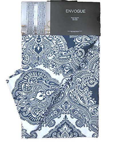 10 Best House Images On Pinterest Curtain Panels Panel Curtains Blue And White Print Paisley