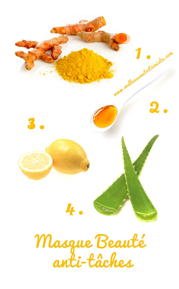 Masque beauté anti-tâches au miel, au citron, au curcuma et à l'aloé vera #beauté #beauty #natural #naturel #wellnessnutritionista