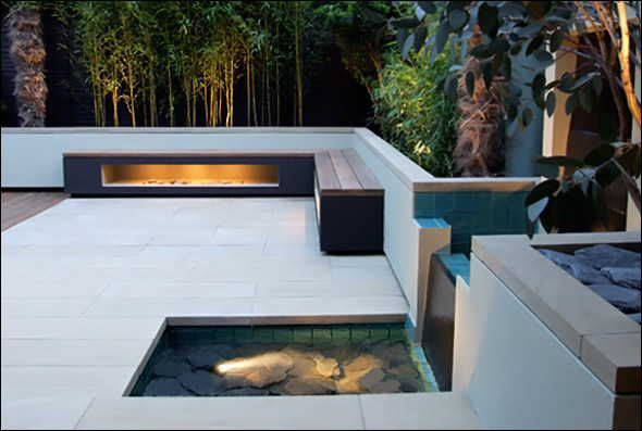 Water Features and Private Decks at Contemporary Roof Terrace Design Ideas