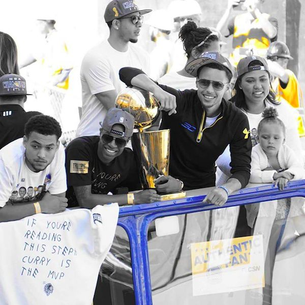 Stephen Curry and Family Celebrate Golden State's Win on a Parade Float in Oakland California, Joined by Brother Seth Curry, Wife Ayesha, Daughter Riley, mom Sonya with Drake Parody Shirt