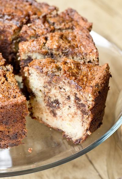 Super moist banana cake loaded with chocolate but not loaded with fat!