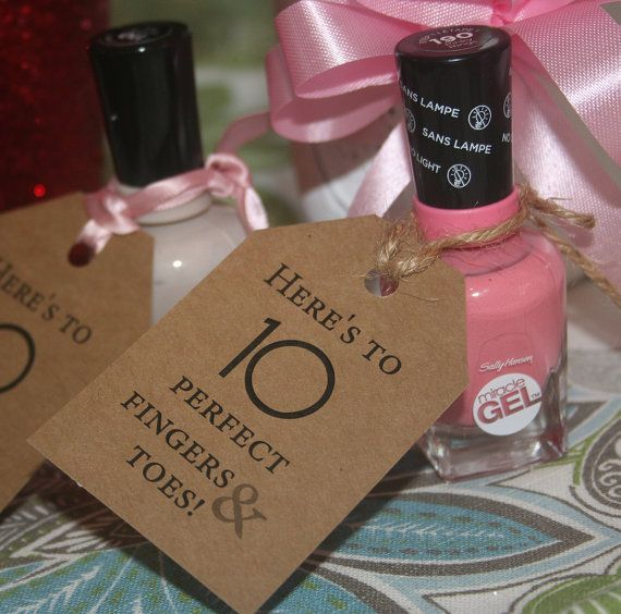 Baby Shower Nail Polish Tags - Quantity 1, then Select Amount to see pricing (now available printed on Pink or Blue Paper) Perfect 10 Fingers and Toes A cute play on words **BY REQUEST I can change to Perfect 20 Fingers and Toes by request for Twins and more....(triplets 30 fingers and toes) **Upon checkout leave me a message from buyer is you want Perfect 20 or Perfect 30 S P E C S - - Printed on the front only - - Size of tags are 2 x 3 inches *****Nail Polish and ribbon is NOT…