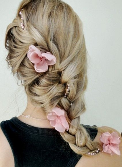 I LOVE the French braid and flowers, but I would curl my hair at the bottom and wear it over my shoulder.