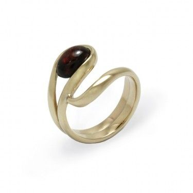 Custom Garnet and Yellow Gold Bespoke Ring by Benjamin Black Goldsmiths.