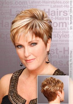 Woman over 50 with ashort chic hair'do for older women