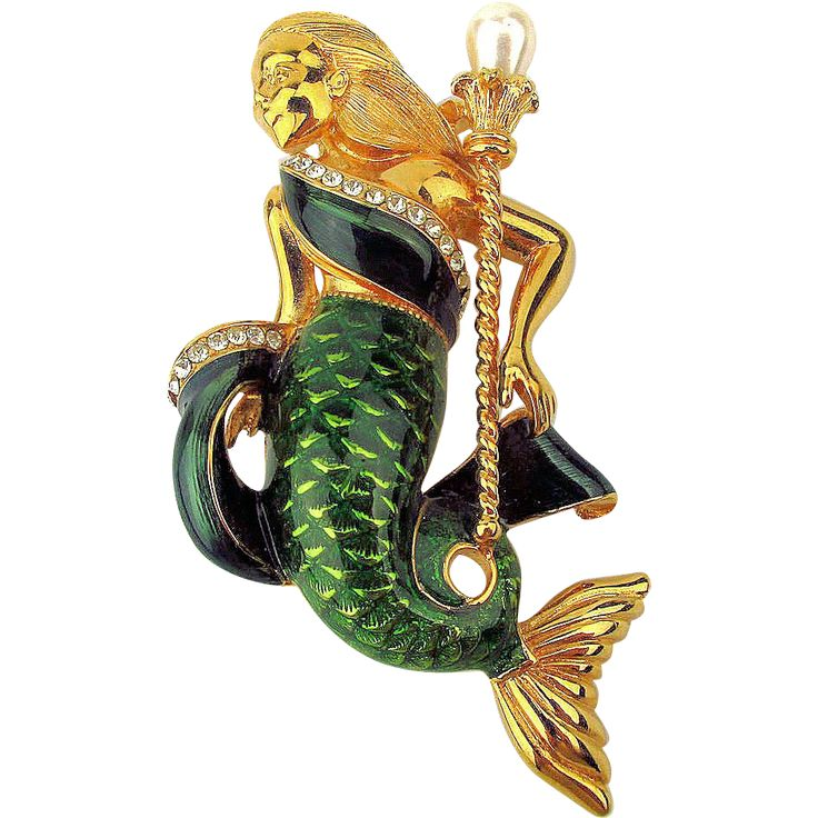 Trifari Mermaid Pin Brooch Enamel Rhinestone Queen of the Sea 1997