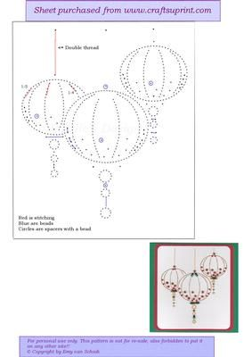 ED132 Christmas baubles on Craftsuprint designed by Emy van Schaik - Stitching with beads - Now available for download!