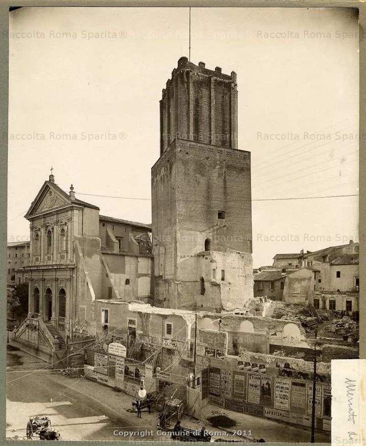 Torre delle Milizie e le demolizioni nel Giardino delle Milizie dei Mercati di Traiano 1929 (??)