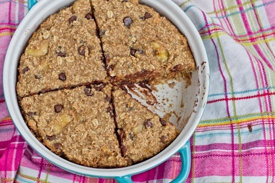 Rustic Chocolate Chip Banana Oat Cake with PB Banana Glaze: Sounds perfect for a nutritious weekday breakfast. Yum!