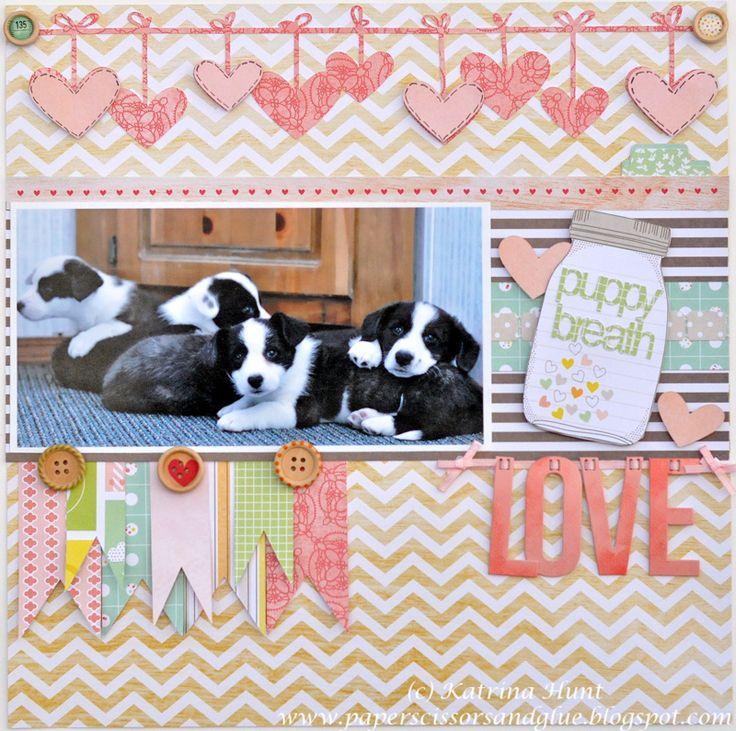 adorable: Scrapbook Ideas, Hanging Heart, Dogs Scrapbook Layout, Puppies Breath, Scrapbooking Pet, Puppy, Pet Scrapbook, Scrapbook Pages, American Crafts