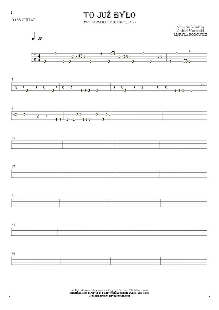 To już było sheet music by Maryla Rodowicz. From album Absolutnie Nic (1992). Part: Tablature for bass guitar.