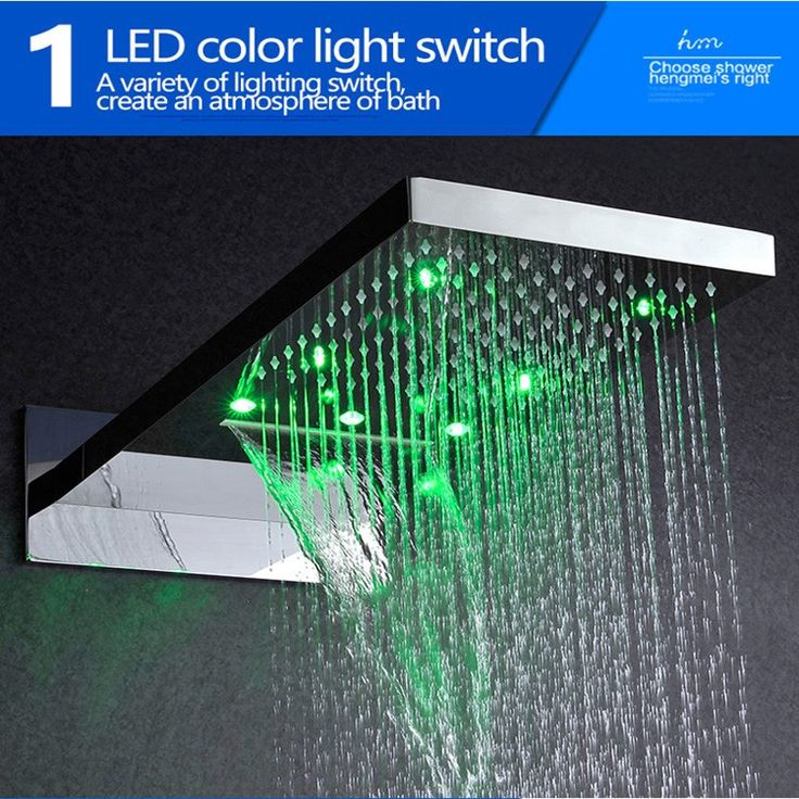 Hot And Cold Bathroom Faucet Shower LED Conceal Shower Set 304 Stainless Steel Waterfall LED Shower Mixer Tap