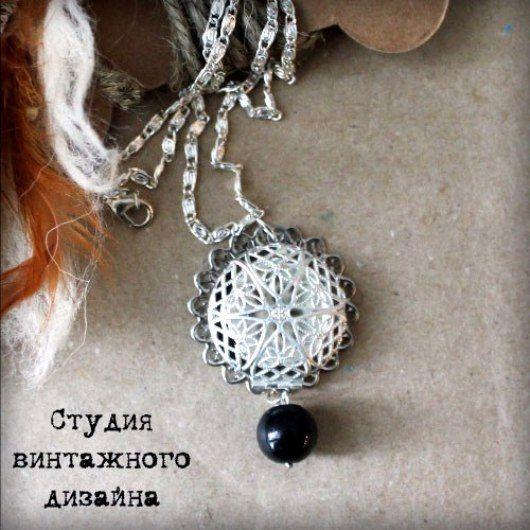 """Купить Ожерелье-цепочка с медальоном """"Близко к сердцу"""" - серебряный, винтажный стиль, кулон на цепочке"""