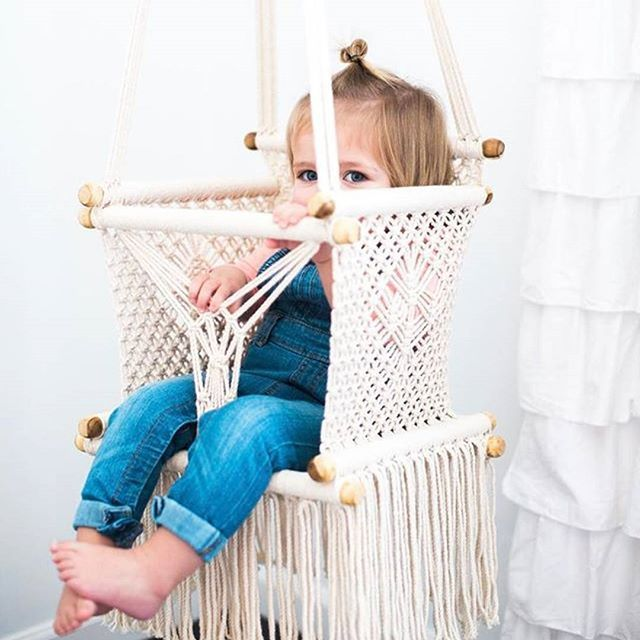 Our best selling macrame baby swing. If you love neutrals in your home, this is the perfect addition to any nursery, living room, porch, kitchen, etc! Handcrafted in Nicaragua by talented artisans. Shop small, macrame baby hammock, handmade baby toys, nursery decor, neutral decor, baby room, baby shower gift.