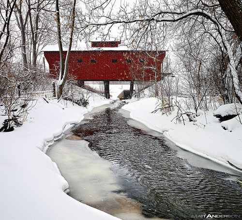 A Red Wooden Bridge near Milton Janesville Wisconsin in Rock County at Winter with snow and ice near a stream | Flickr - Photo Sharing!
