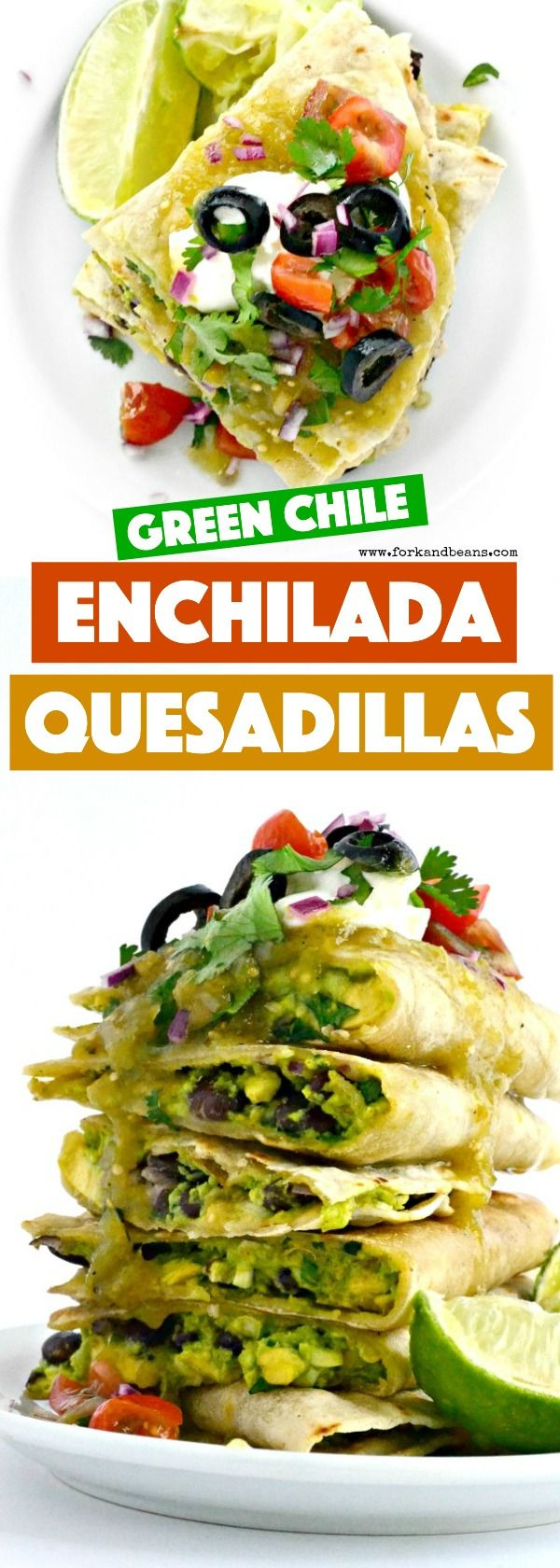 These Green Chile Enchilada Quesadillas are the perfect pairing of a gluten free enchilada and vegan quesadilla.