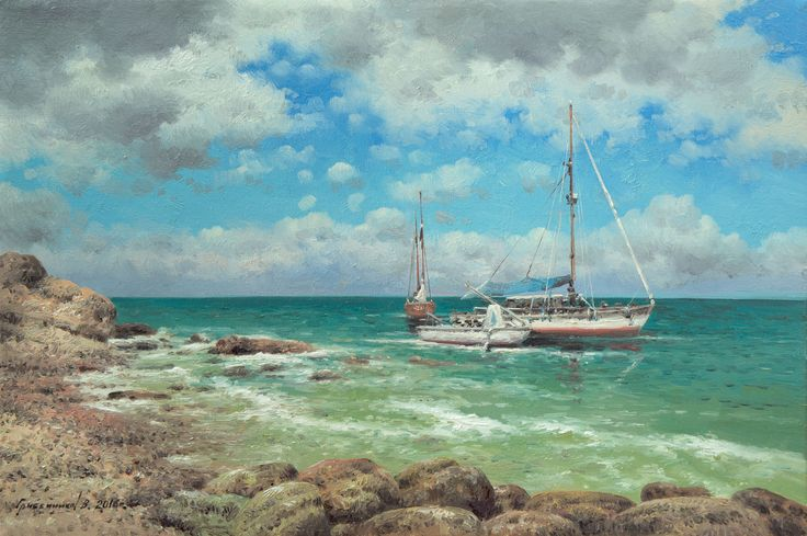 Vasily Gribennikov Boats near the shore, 20*30, 2016