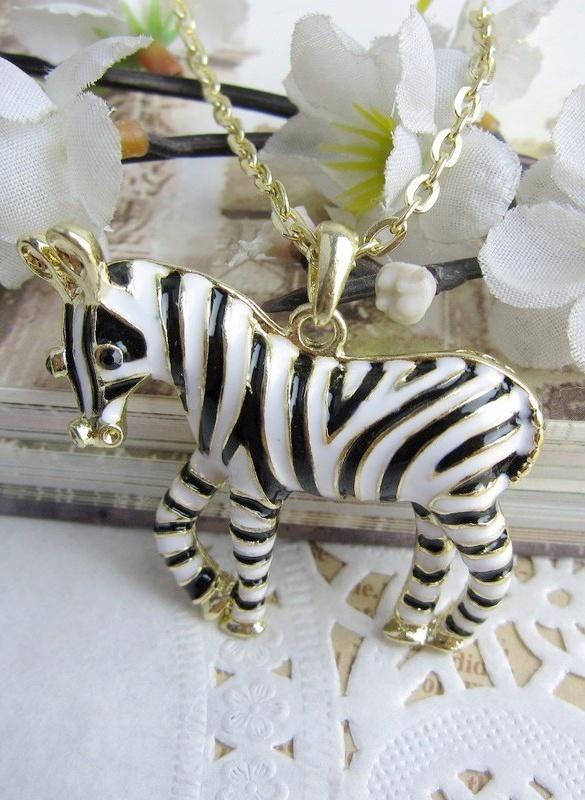 Simple Zebra Pendant Necklace