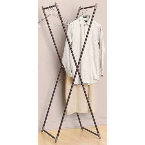 This Folding Clothes Valet offers a great option for expanding hanging storage space in any room in the house. Great for use in walk-closets bedrooms and more this clothes valet stand is equipped with two heavy duty closet rods to accommodate the weight of numerous articles of clothing. Standing nearly 5 feet t