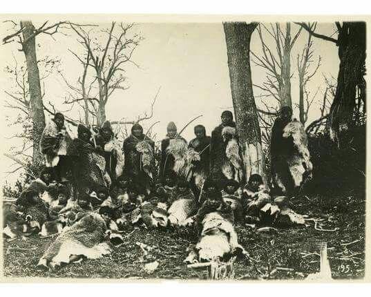 Grupo selknam. Fotografía de Martínez  y Franciscovic, año 1910.