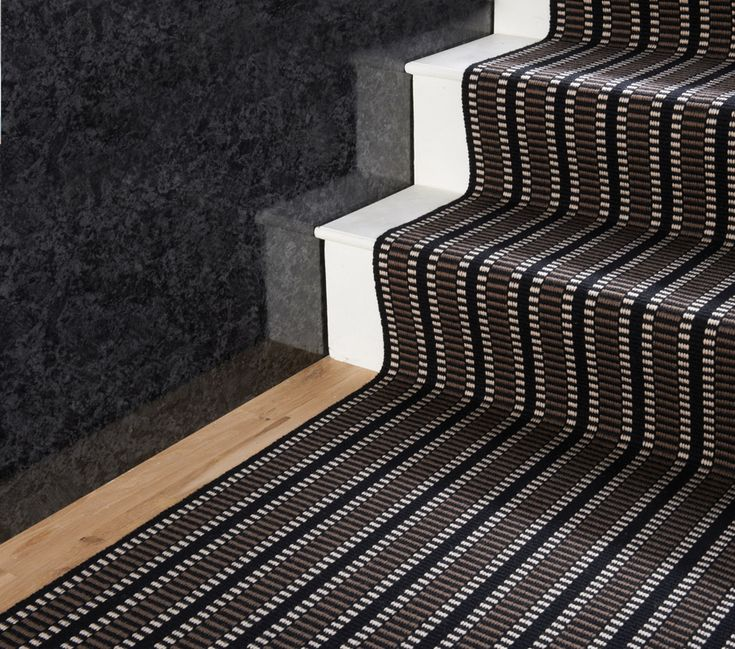 Wooden Stairs With Painted Stripes Updating Interior: Flatweave Stripes. PNUK Black From Hartley & Tissier In