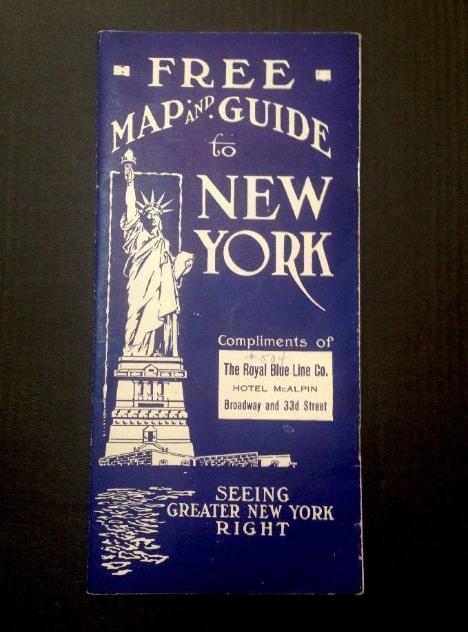 Vintage 1923 NYC Royal Blue Line Souvenir Map & Guide Book to New York City  | eBay  NYC Souvenir Map 1920s