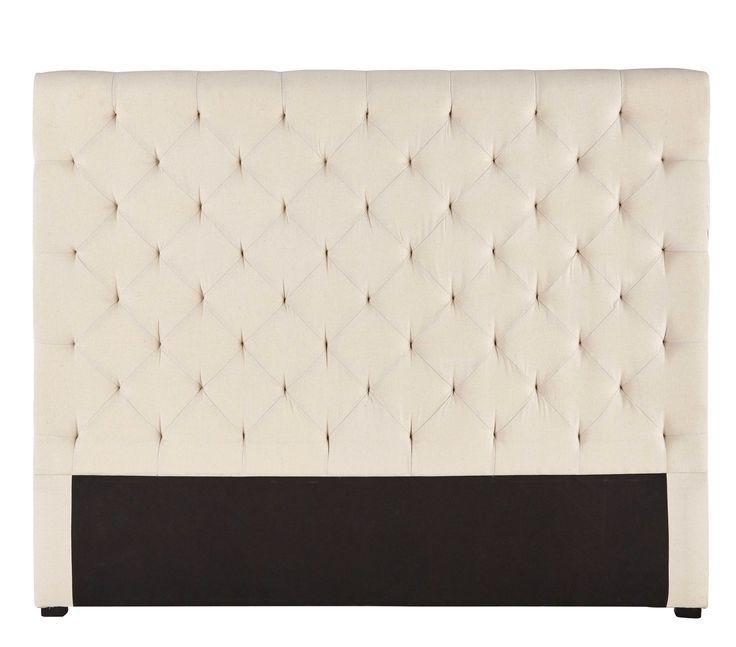 Hoofdeinde bed 160 cm, gecapitonneerde stof, beige Chesterfield