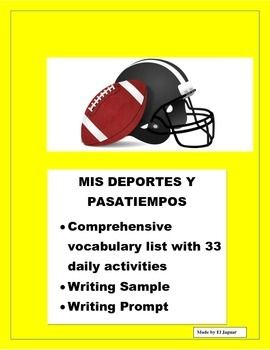 """This Sports and Leisure activities is the perfect unit to teach students to express their likes and dislikes using """"Me Gusta"""".Students will have a chnce to learn vocabulary, translate a written sample full of cognates and write their own essay about their likes and dislikes each day of the week using the user friendly writing prompt."""