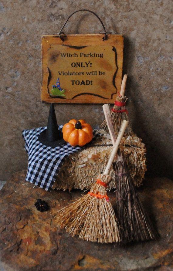 miniature halloween scene witch parking by littlethingsbyanna 2950 - Miniature Halloween Decorations