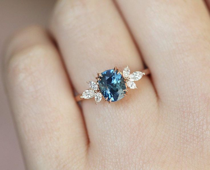 Blue Sapphire Engagement Ring Rose Gold, Blue Cushion Sapphire and Diamond Ring