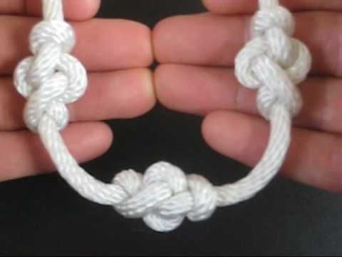The Eternity Knot is an attractive way to decorate a rope or string. Strung along, one after another, it creates elongated bead-like clusters at intervals of the tiers choosing.
