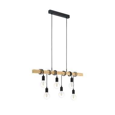 EGLO hanglamp Townshend - zwart/eiken
