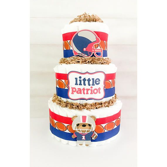 Diaper Cake - Patriots Diaper Cake - Football Diaper Cake - Football Baby Shower Decor - Diaper Cakes For Boys - Patriots Baby Shower Decor