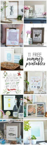11 Free Summer Printables kellyelko.com