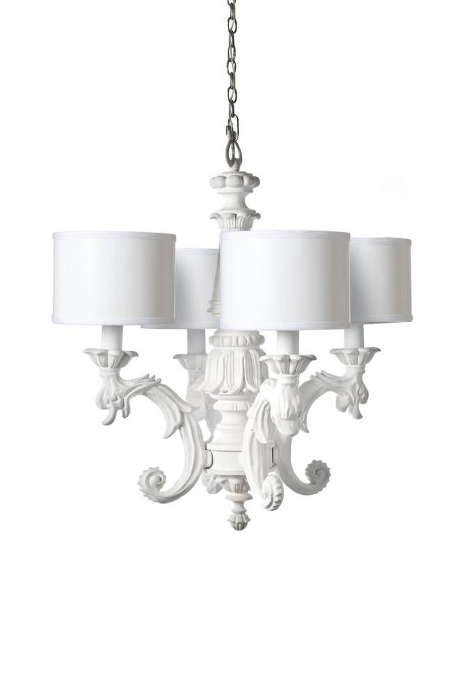 An Elegant White Chandelier Gloss Finish On Painted Parchment Shade Set Of 4 Included This Item Ships In Weeks
